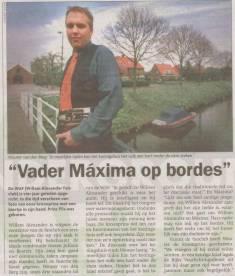Dhr. van den Berg, lid van de Willem Alexander Fanclub (WAF), Metro 28 april 2000
